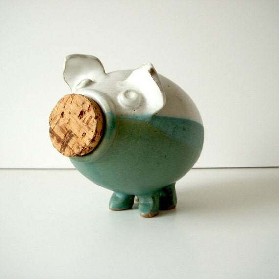 70s Pottery Piggy Bank Handmade Ceramic Chubby Pig With Cork
