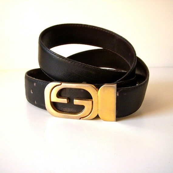 reserved 80s gucci belt gold buckle black and brown