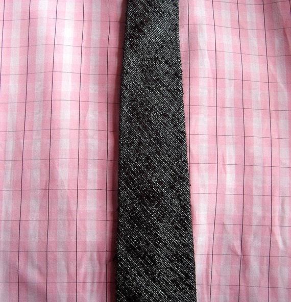 60s skinny tie - Mad Men rocker cool - silk linen - Continental Tie Shop - black and gray silk tweed - Don Draper chic