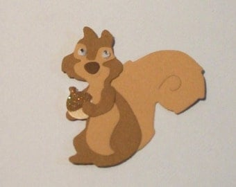 Cute Whimsical Squirrel with Wiggly Eyes Die Cuts - Bazzill
