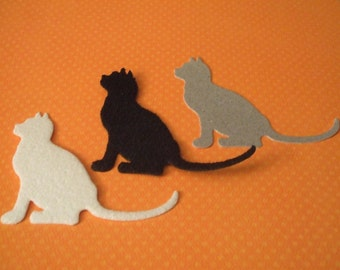 Nice Silhouette Cat Die Cuts - Fuzzy or Glittered - Set of 3