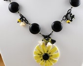 Custom Sunflower Necklace ... reserved... Bright Summer Flower