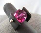 White Gold Ring, Hot Pink Crystal and Black Interchangeable Band made by Ocean Phoenix Designs on Etsy