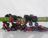 Ruby, Smokey Quartz and Black Pearl Bracelet on Etsy by Ocean Phoenix Designs