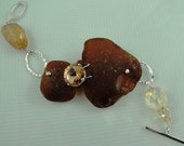 Sterling Silver Bracelet, Brown Beach Glass Cluster with Citrines and Rhinestones