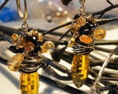 Citrine Briolette Earrings with Gemstone Fringe on Etsy