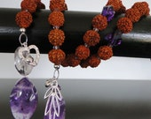 Couples Kriya Yoga Meditation and Prayer Bead Necklace with Rudraksha Beads and Amethyst Gemstones