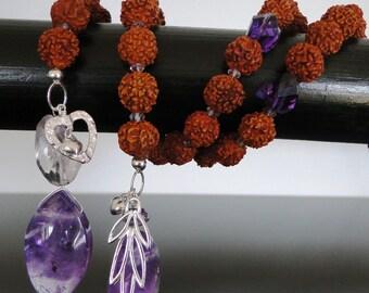 Couples Kriya Yoga Meditation and Prayer Bead Necklace with Rudraksha Beads and Amethyst Gemstones