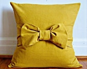Mustard Bow Pillow Cover