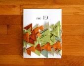 no. 19 geometric triangle wool felt bunting in pumpkin, auburn, fern, sage, and peppercorn (one of a kind)