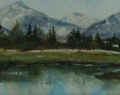 Watercolor Original Painting Landscape Still Lake 11 x 14 Matted  by Sams Paintbrush