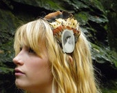 HER CAMEO Feather Headband/ Pheasant and Antique Photo Headband/ FORGOTTEN Ancestor Series/ 082