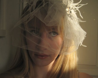 MARIE Lace, Ostrich and Swarovski Crystal Bridal Headband and Veil / Off White Ivory Lace and Ostrich Feathers/ 036