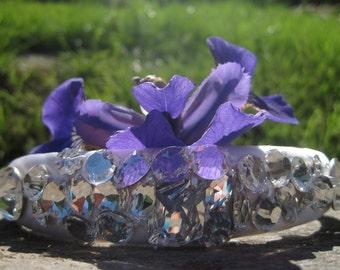 Swarovski Crystal Bridal Headband/ IRIS / Bridal White Art Deco Nouveau Bride Tiara/ 033