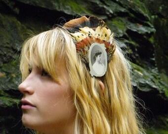 HER CAMEO Feather Headband/ Pheasant and Antique Photo Headband/ FORGOTTEN Ancestor Series/ 082