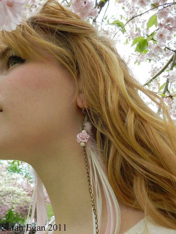 Pink Roses Long Feather Earrings / CHAIN oF ROSES / Romantic Springtime / HANAMI Collection/ 002