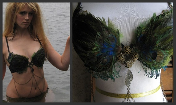 SIREN SAYS Peacock Feather Belly Dance Top / Size 34 C / 012