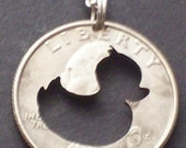 """Duck """"Rubber Ducky"""" Hand Cut Coin Jewelry"""