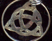 Triangle Celtic Knot Hand Cut Coin Jewelry