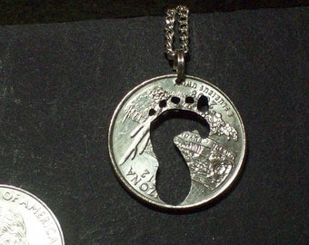 Foot Bare Hand Cut Coin Jewelry
