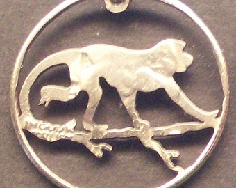 Monkey On A Branch Cut Coin Jewelry
