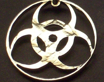 Biohazard Symbol  Cut Coin Jewelry