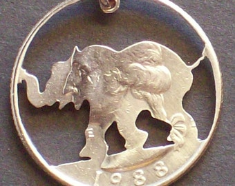Elephant Hand Cut Coin Jewelry