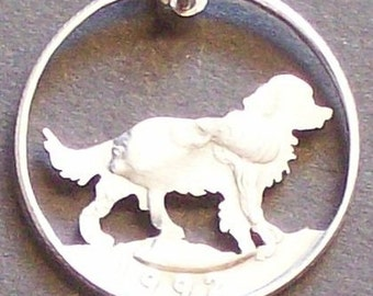 Dog Spaniel Hand Cut Coin Jewelry