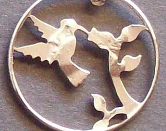 Bird Hummingbird Flower Quarter Hand Cut Coin Jewelry