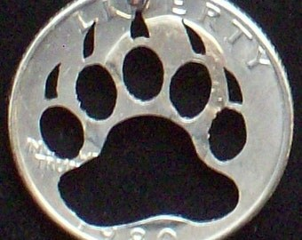 Bear Paw Hand Cut Coin Jewelry
