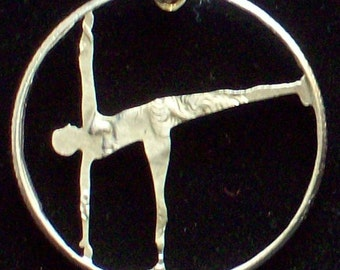 Yoga Half Moon Pose Hand Cut Coin Jewelry