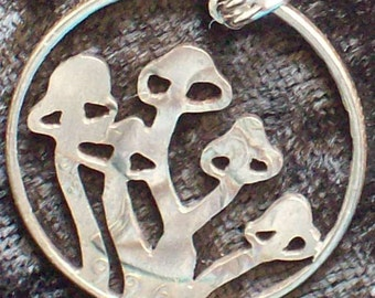 Mushrooms Hand Cut Coin Jewelry