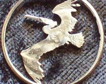 Bird Pelican Hand Cut Coin Jewelry