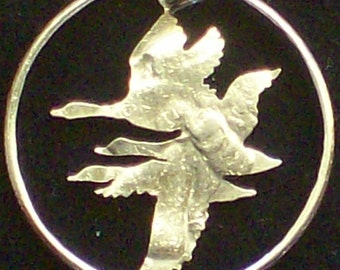 Birds Geese Hand Cut Coin Jewelry