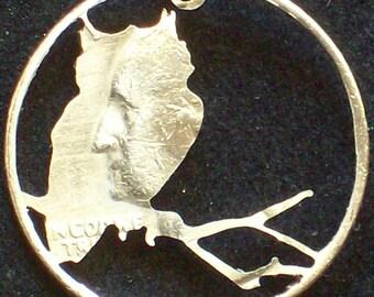 Bird Owl Hand Cut Coin Jewelry