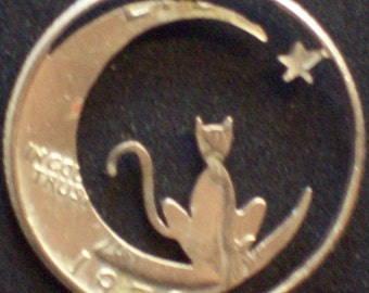 Cat In The Moon Hand Cut Coin Jewelry
