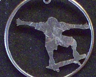 Skateboarder Hand Cut Coin Jewelry