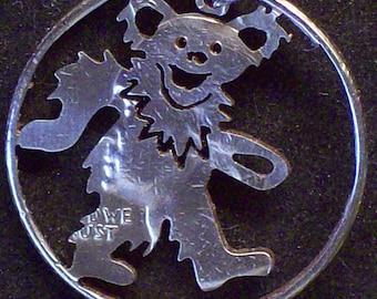 Bear Grateful Dead Hand Cut Coin Jewelry