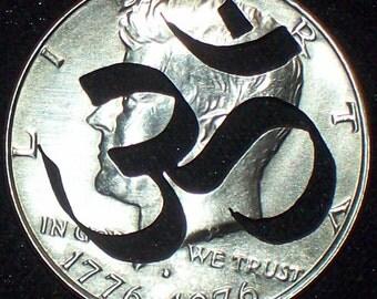 Om Half Dollar Hand Cut Coin Jewelry