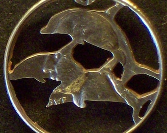 Porpoise Pod Hand Cut Coin Jewelry