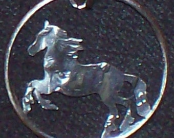 Horse Dime Hand Cut Coin Jewelry