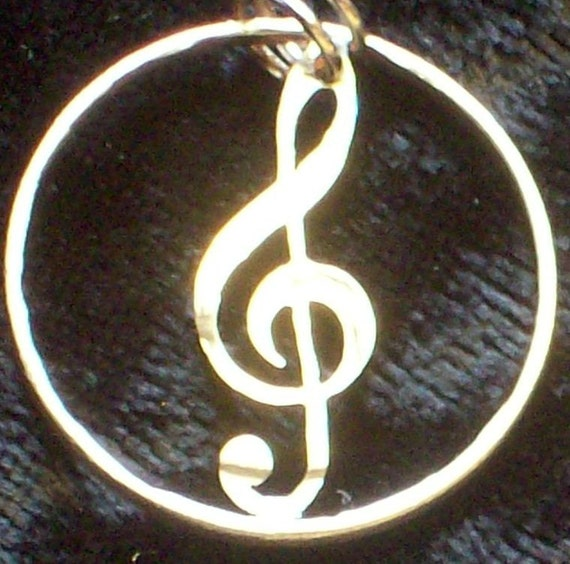 Treble Clef Hand Cut Coin Jewelry