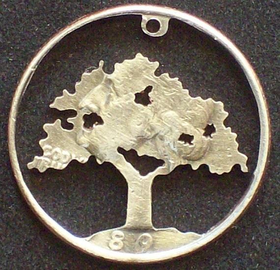 Tree Oak Hand Cut Coin Jewelry
