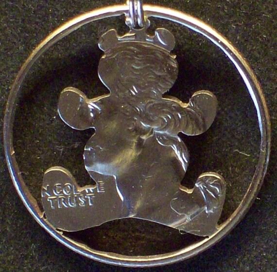 Bear Teddy  Hand Cut Coin Jewelry