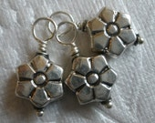3 x FLOWER Sterling Silver Charms / Dangles