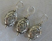 3 x Oxidised OVAL Shaped Stamped Carved Sterling Silver Charms / Dangles