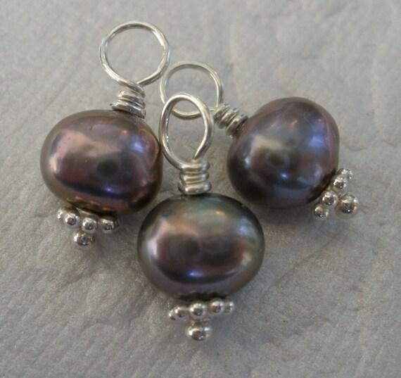 3 x BLACK PEACOCK PEARL Sterling Silver Handmade Charms / Dangles