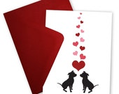 Pit Bulls in Love - Greeting card personalized with your message
