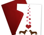 Dachshunds in Love - Set of 6 Valentine cards personalized with your message