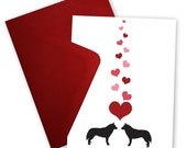 Huskies in Love - Valentine card personalized with your message